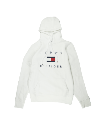 Tommy Hilfiger Flag Logo Cotton Blend Hoody - White