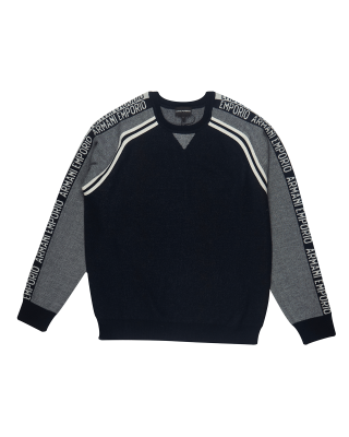 Emporio Armani Piquet Wool Blend Jumper With Logo Sleeves