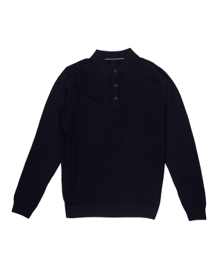 Remus Uomo Casual Slim Fit Merino Wool-Blend Long Sleeve Polo Shirt - Navy