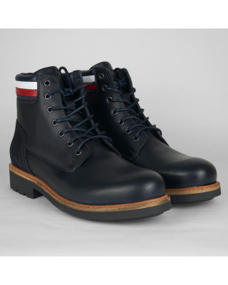 Tommy Hilfiger Signature Leather Panel Boots - Desert Sky