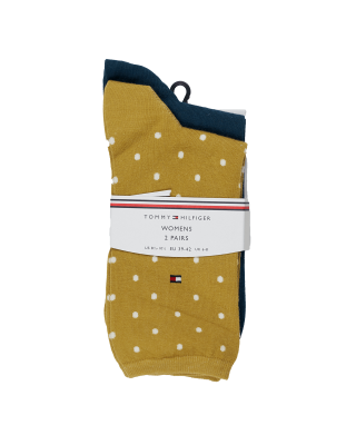 Tommy Hilfiger Dot Socks 2 Pack - Pale Yellow