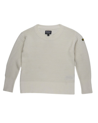 Barbour Goodwood Cream Ribbed Knit Sweater