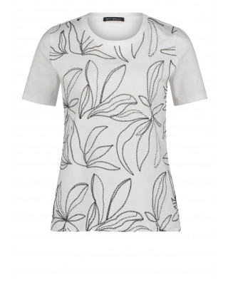 Betty Barclay Basic T-Shirt With Floral Embroidery - White