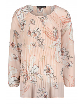 Betty Barclay Slip On Floral Blouse - Rose/Cream