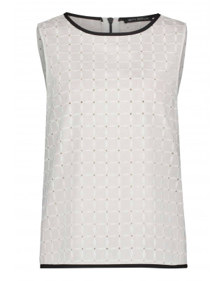 Betty Barclay Sleeveless Blouse With Lace - White
