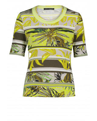 Betty Barclay Basic T-Shirt With Floral Print - Green/Yellow