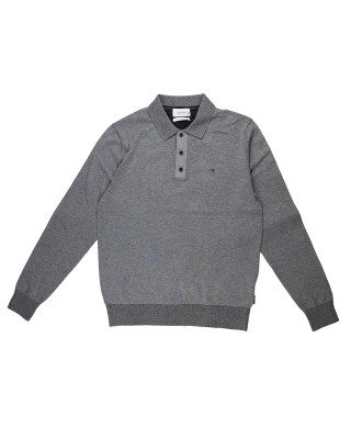 Calvin Klein Cotton Silk Mix Long Sleeve Polo Shirt - Mid Grey Heather
