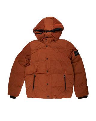 Calvin Klein Crinkle Nylon Hooded Puffer Jacket - Gingerbread Brown