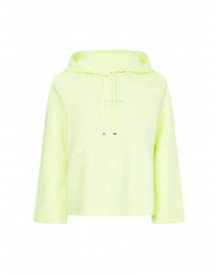 Calvin Klein Cropped Organic Cotton Hoody - Sunny Lime