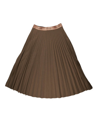 Calvin Klein Pleated Flannel Midi Skirt