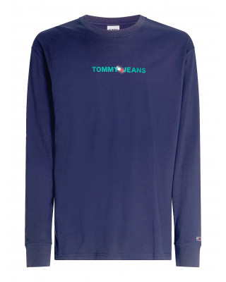 Tommy Jeans Logo Recycled Cotton Long Sleeve T-Shirt - Twilight Navy