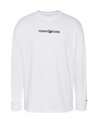 Tommy Jeans Logo Recycled Cotton Long Sleeve T-Shirt - White