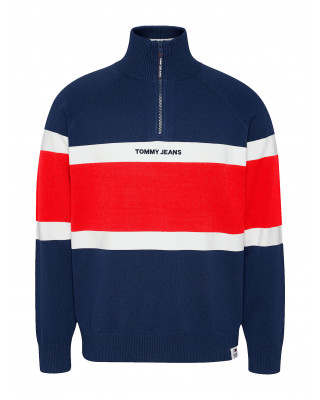Tommy Jeans Colour-Blocked Mock Turtleneck Jumper - Twilight Navy Multi