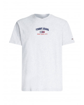 Tommy Jeans Organic Cotton Flag T-Shirt - Silver Grey Heather