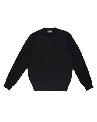 Emporio Armani Crew Neck Jumper With Eagle Embroidery - Black