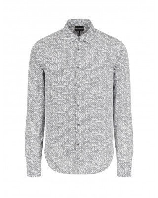 Emporio Armani French Collar Shirt With All-Over Micro Lettering - Black/White