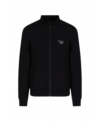 Emporio Armani Zipped Sweatshirt with Front Eagle - Black