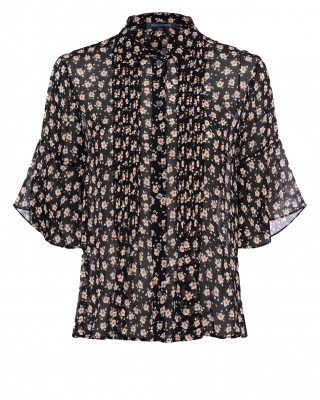 French Connection Aura Ditsy Floral Short Sleeve Shirt - Black