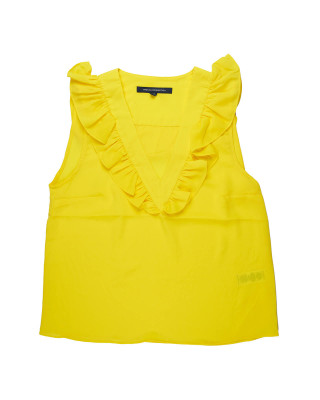 French Connection Crepe Light V Neck Ruffled Top - Yellow
