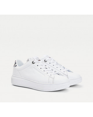 Tommy Hilfiger TH Monogram Leather Cupsole Trainers - White