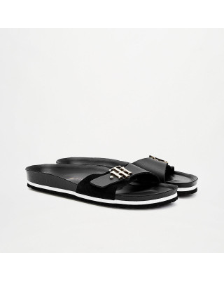 Tommy Hilfiger Suede Monogram Sandals - Black