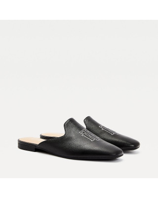 Tommy Hilfiger Monogram Leather Flat Mules - Black
