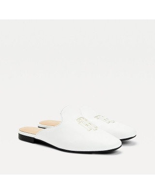 Tommy Hilfiger Monogram Leather Flat Mules - Ecru