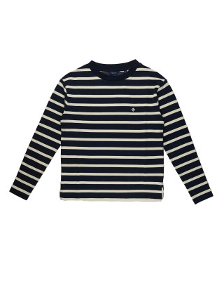 Gant Breton Stripe Long Sleeve Top - Evening Blue