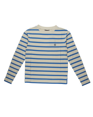 Gant Breton Stripe Long Sleeve Top - Pacific Blue