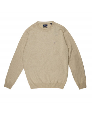 Gant Super Fine Lambswool Crew Neck Jumper - Dark Sand