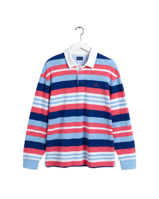 Gant Heavy Rugger Striped Top - Paradise Pink