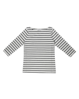 Great Plains Organic Jersey Stripe Top - White/Black