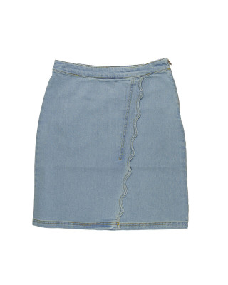 Great Plains Light Wash Wave Denim Mini Skirt