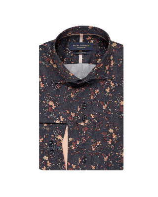 Guide London Black / Tan Floral Long Sleeve Shirt