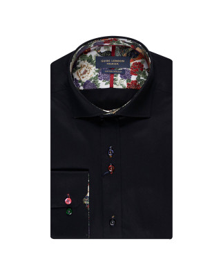 Guide London Floral Detail Long Sleeve Shirt - Black