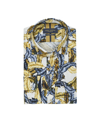 Guide London Blue/ Tan Leaf Print Shirt