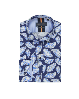 Guide London Sky Sky Blue Leaf Print Shirt