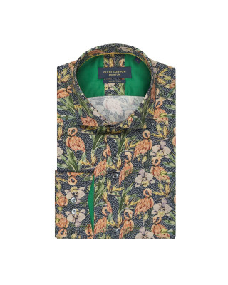 Guide London Flamingo Print Shirt Navy