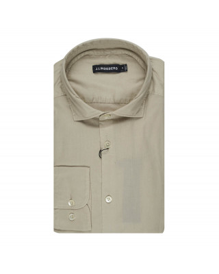 J.Lindeberg Airy Oxford Slim Fit Shirt - Sand Grey