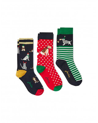 Joules Christmas Bamboo Socks 3 Pack - Xmas Dogs