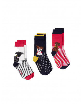 Joules Brill Bamboo Socks 3 Pack - Multi Dogs