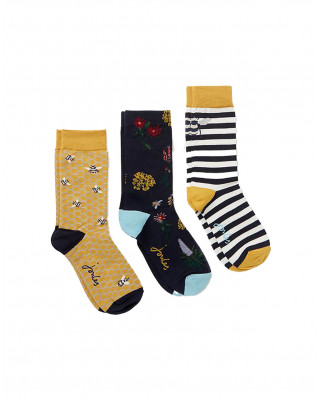 Joules Brill Bamboo Socks 3 Pack - Gold Bee