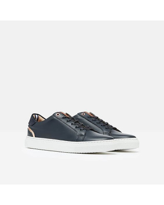 Joules Classic Cup Sole Leather Trainers - Navy