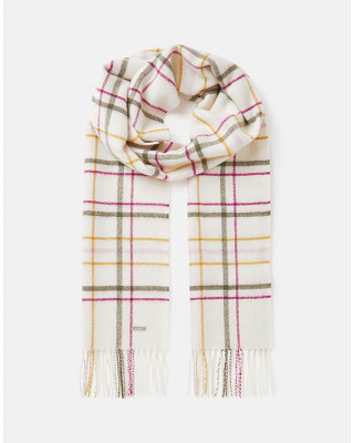 Joules Farewell Checked Wool Scarf - Cream