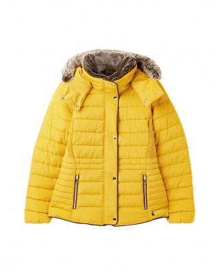 Joules Gosway Fur Trim Padded Coat - Antique Gold