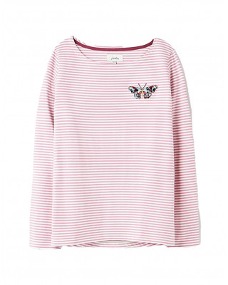 Joules Harbour Embroidered Long Sleeve Jersey Top - Butterfly
