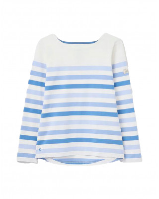 Joules Harbour Long Sleeve Jersey Top - Cream Stripe