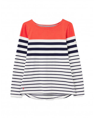 Joules Harbour Long Sleeve Jersey Top - Cream Navy Red Stripe