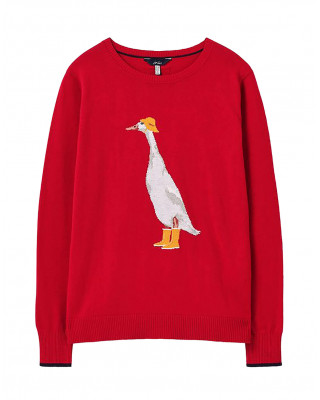 Joules Miranda Knitted Intarsia Crew Neck Jumper - Red Duck