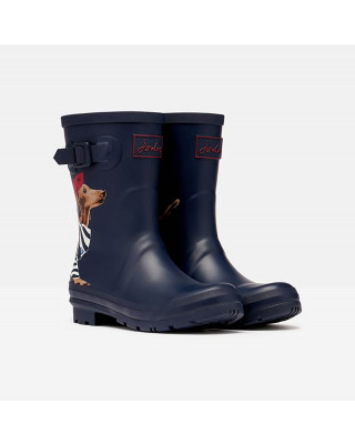 Joules Molly Mid Height Printed Wellies - Navy